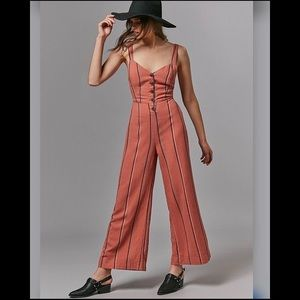 UO Ashley Buttoned Tie Back Jumpsuit